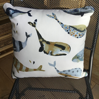 Whale design cushion in deep indigo and cream