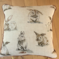 Rustic rabbit cushion 17 inch square linen look