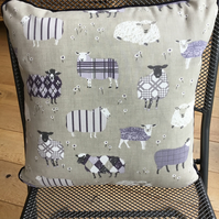 Sheep design cushion with piping