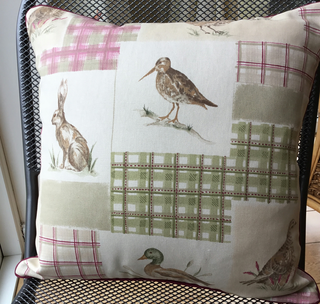 Stunning game bird cushion in burgundy and sage green.
