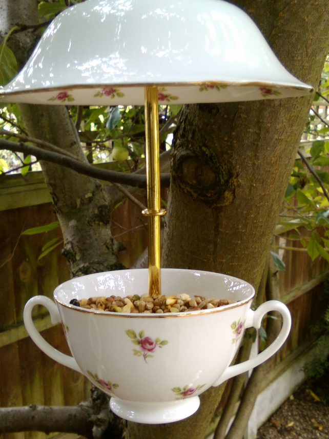 Upcycled vintage bone china soup bowl bird feeder