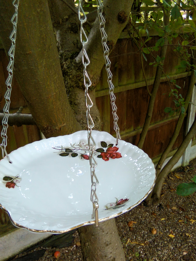Upcycled vintage hanging cake plate bird feeder
