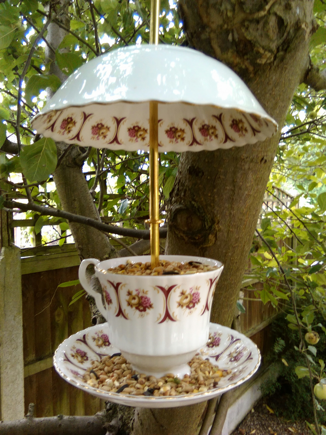 Upcycled vintage teacup and saucer birdfeeder