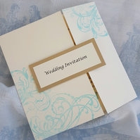 Beautiful Hand Stamped Swirls Gate Fold Wedding Invitation. Pack of 10. FREE P&P