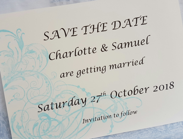 Beautiful Hand Stamped Swirls Save the Date Card. Pack of 10. FREE P&P