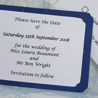 Pearlescent Blue Embossed Save the Date Cards. Pack of 10. FREE P&P.