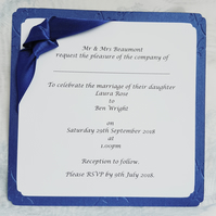 Pearlescent Blue Embossed Wedding Invitation. Pack of 10. FREE P&P.