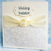 Gorgeous Classical Cream Hand Crafted Wedding Invitation. Pack of 10. FREE P&P.