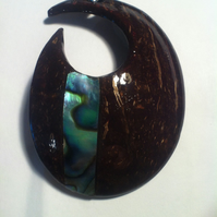 Coconut Shell Pendand Necklace Hand Made