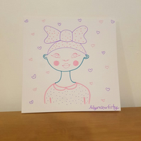 Colourful Patterned Character Greetings Card