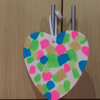 SPRING Collection    Colourful Patterned Wooden Hanging Heart