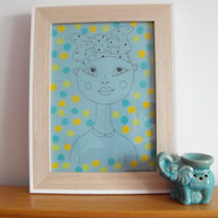ORIGINAL Colourful Patterned Portrait Illustration