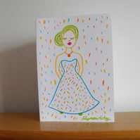Greetings Card Royal Gala Inspired Pretty Colourful Lady SPRING COLLECTION
