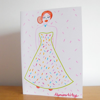 Greetings Card Royal Gala Inspired  Pretty Colourful Lady