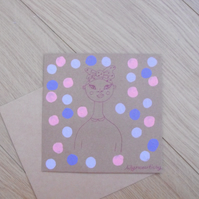 Colourful Portrait Polkadot Patterned Greetings Card