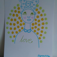 Female Illustration Sunny Days  Portrait A3 SPRING COLLECTION