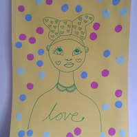 Female Illustration Yellow Patterned Portrait A3 SPRING COLLECTION