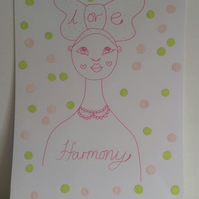 Female Illustration Love and Harmony  Portrait A3 SPRING COLLECTION