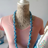 Necklace Blue Turquoise Grey Plaited Acrylic Wool Handmade