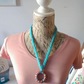 Pretty Handmade Plaited Acrylic Wool and Recycled Wood Necklace