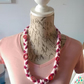 Pretty Handmade Plaited Acrylic Wool and buttoned Necklace