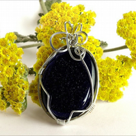 Wire-wrapped Blue Goldstone Pendant