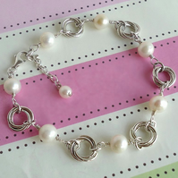 Freshwater Pearl and Sterling Silver Love Knot Bracelet