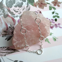 Sterling Silver Circles and Chain Bracelet