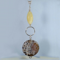 Long Leopard Agate and Honey Quartz Pendant Necklace