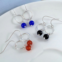 Gemstone and Hoop Dangle Earrings