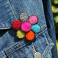 Needle Felt and Zip Rainbow Flower Brooch Botanical Jewellery