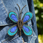 Needle Felt and Zip Butterfly Brooch Blue and Teal