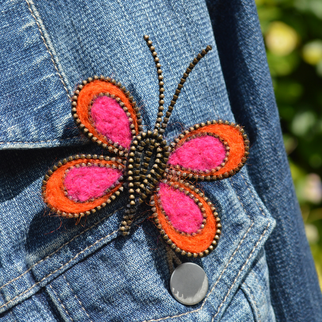 Needle Felt and Zip Butterfly Brooch Orange and Pink