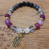 Hamsa beaded bracelet bangle pave diamanté boho stone reiki and chakras healing