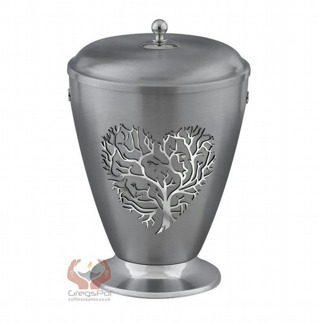 Beautifu Red Metal Cremation Urn for Ashes,Funeral Urn for Adult (Heart 3D)