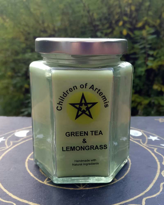 Green Tea & Lemongrass  Jar with Woodwick Soy Candle