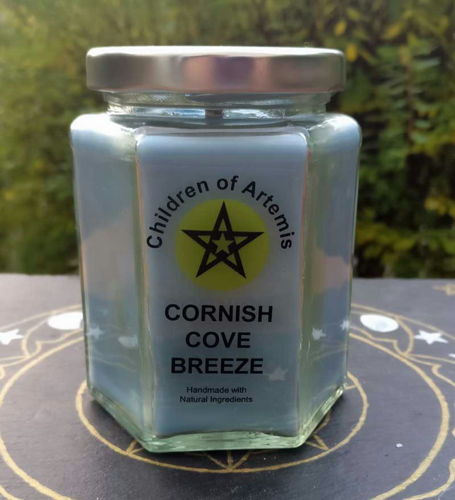 Cornish Cove Breeze Jar with Woodwick Soy Candle