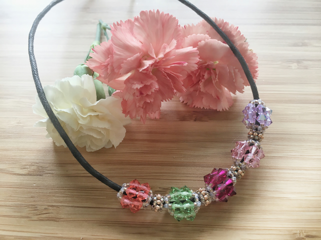 Multi-coloured Swarovski  Christmas Beaded Necklace