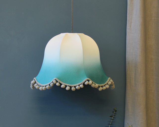 Emerald Ombre Traditional Lampshade - handmade lampshade - dip dyed lampshade