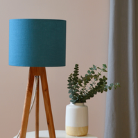 Teal Drum Lampshade - handmade lampshade - home decor - fabric lampshade