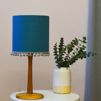 Teal Pom Pom Drum Lampshade - Plain Lampshade - Blue Ceiling Shade