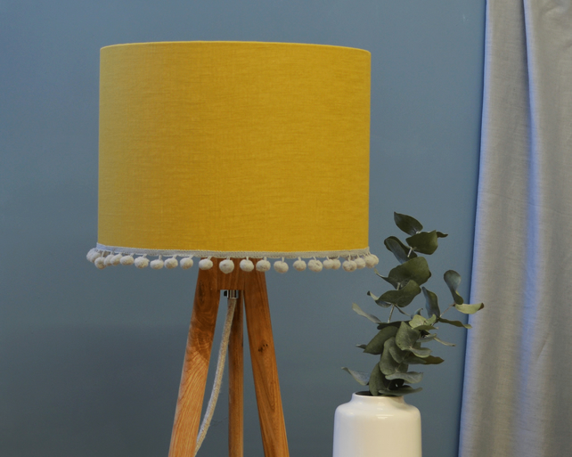Mustard Pom Pom Drum Lampshade - handmade lampshade - home decor