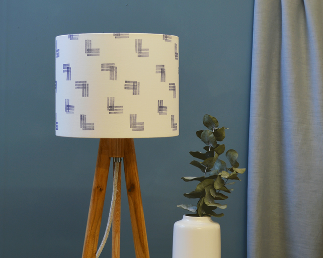 Lines Navy Drum Lampshade - handmade lampshade - home decor