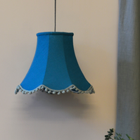 Teal Traditional Lampshade - handmade lampshade - home decor - fabric shade