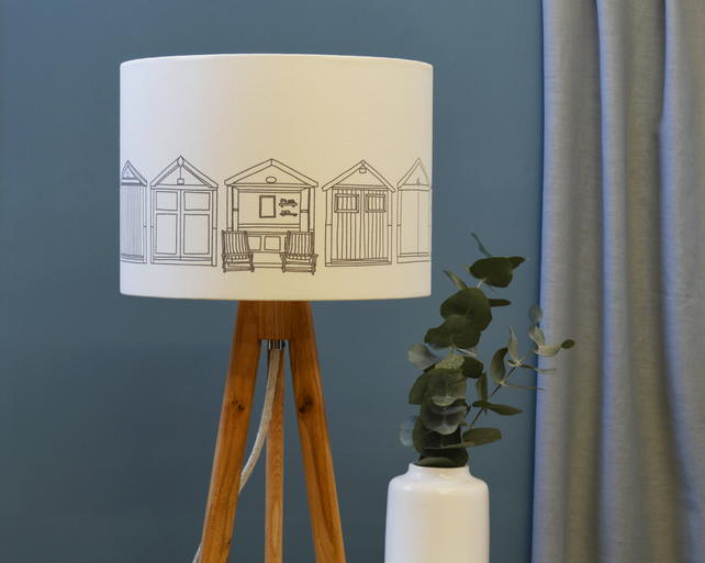 Beach Hut Grey Drum Lampshade - Brighton lampshade - Fabric Lampshade