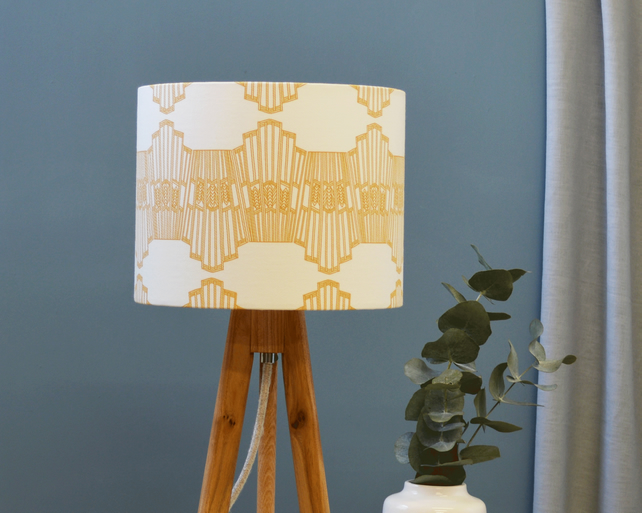 Ornamental Wave Yellow Lampshade - Drum lampshade - Geometric Lampshade