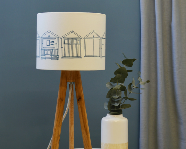 Beach Hut Teal Drum Lampshade - Brighton Lampshade - Seaside Lampshade