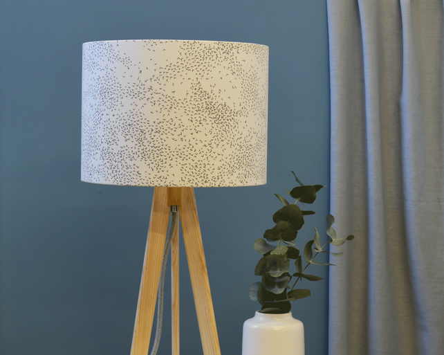 Starlings Grey Drum Lampshade - Bird lampshade - Brighton shade - fabric shade
