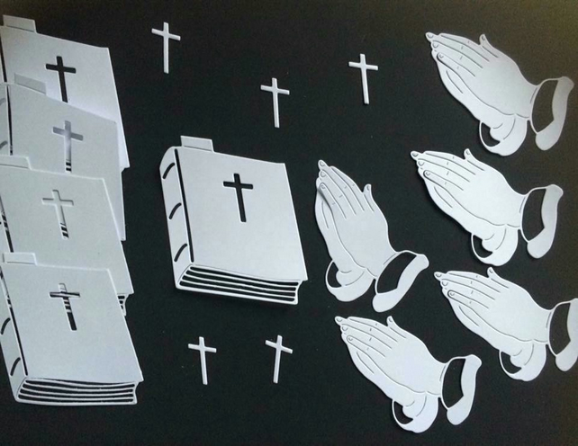 Bible and praying hand die cuts