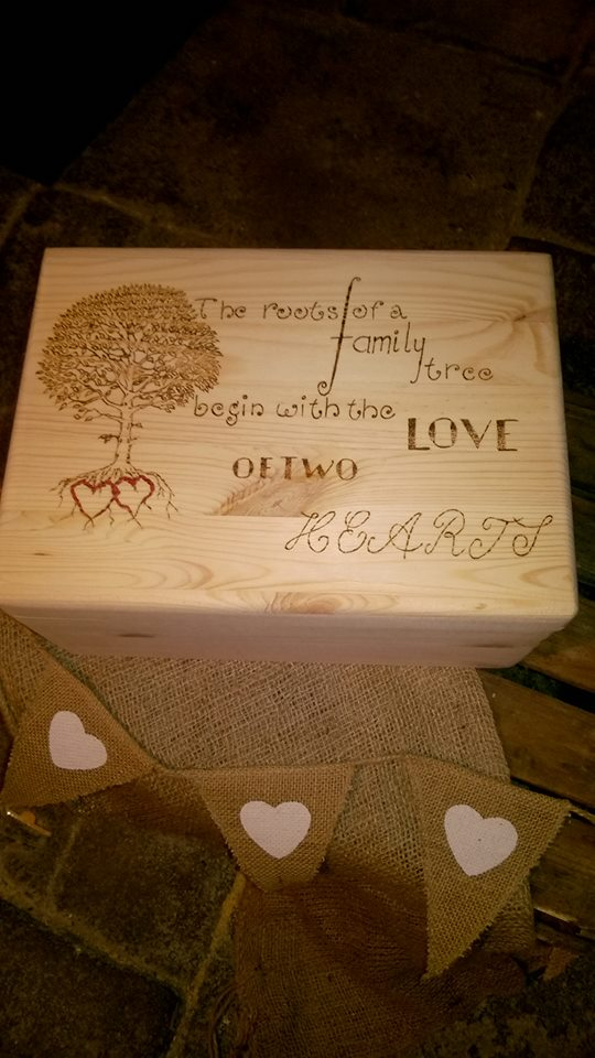 Gorgeous Large wooden Keepsake Memory Box, engraved  Personalised Hearts Trees,